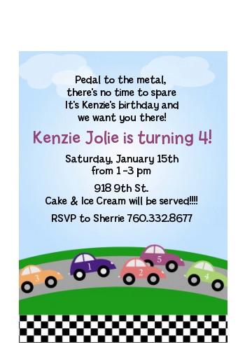 Race Car - Birthday Party Petite Invitations