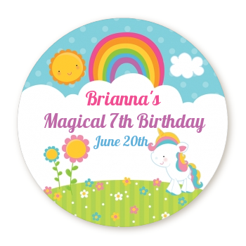 Rainbow unicorn round personalized birthday party sticker labels