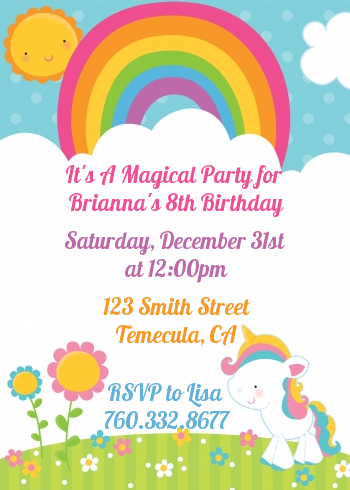 Rainbow Unicorn Birthday Party Invitations Candles And Favors