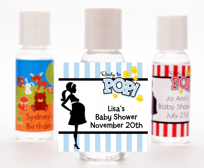Ready To Pop Blue - Personalized Baby Shower Hand Sanitizers Favors Option 1