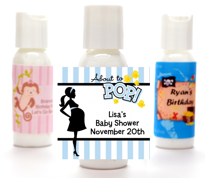 Ready To Pop Blue - Personalized Baby Shower Lotion Favors Option 1