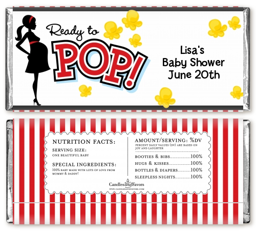 Ready To Pop - Personalized Baby Shower Candy Bar Wrappers Option 1