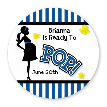 Ready To Pop - Round Personalized Baby Shower Sticker Labels Option 1