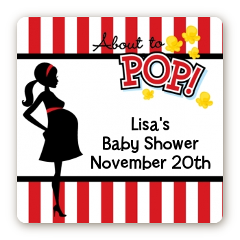 Ready To Pop - Square Personalized Baby Shower Sticker Labels Option 1