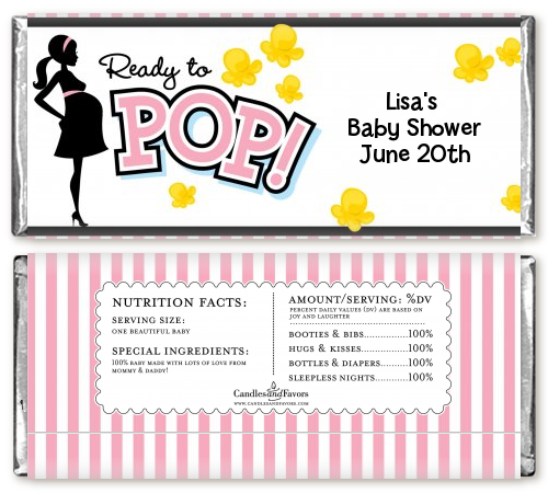 Ready To Pop Pink - Personalized Baby Shower Candy Bar Wrappers Pink 1