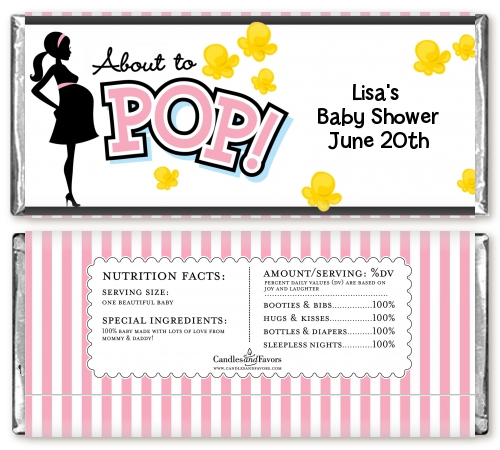 ... Ready To Pop Pink   Personalized Baby Shower Candy Bar Wrappers Pink 1  ...