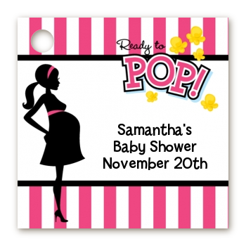Ready To Pop Pink - Personalized Baby Shower Card Stock Favor Tags Option 1