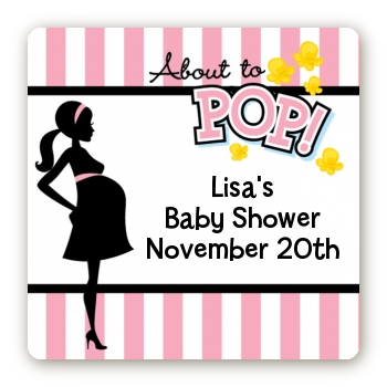 Ready To Pop Pink - Square Personalized Baby Shower Sticker Labels Option 1