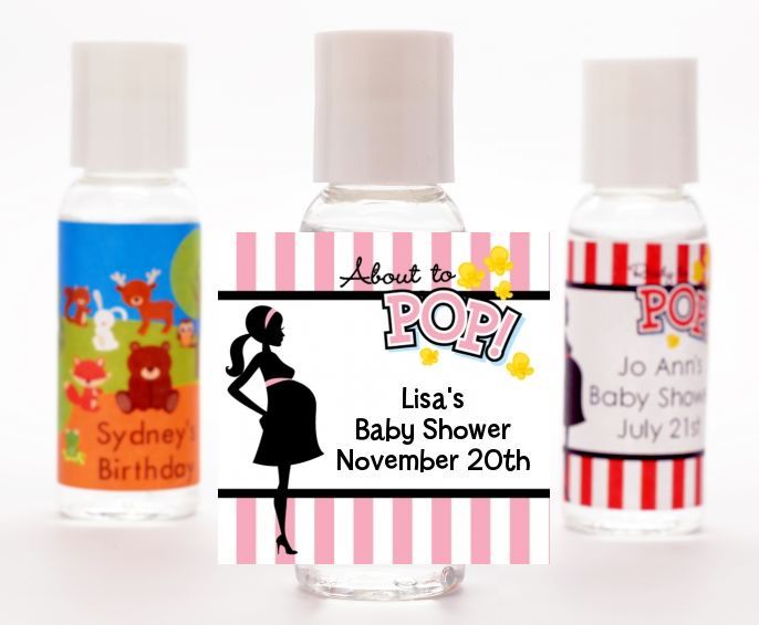 Ready To Pop Pink - Personalized Baby Shower Hand Sanitizers Favors Option 1