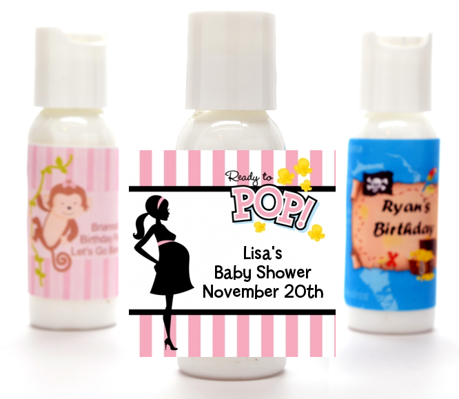 Ready To Pop Pink - Personalized Baby Shower Lotion Favors Option 1