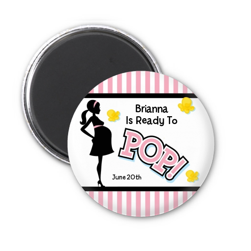 Ready To Pop Pink - Personalized Baby Shower Magnet Favors Pink 1