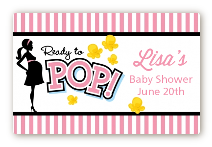 Ready To Pop Pink - Baby Shower Landscape Sticker/Labels