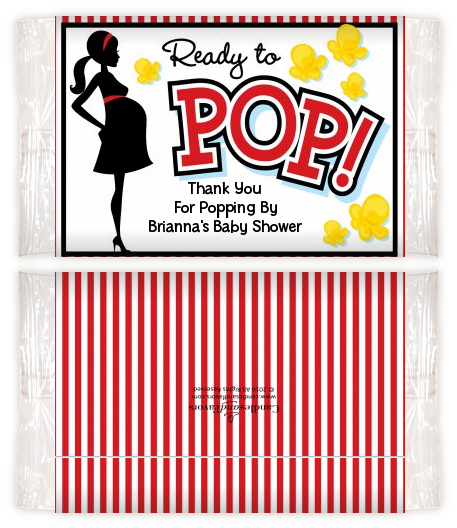Ready To Pop - Personalized Popcorn Wrapper Baby Shower Favors Option 1