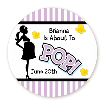 Ready To Pop Purple - Round Personalized Baby Shower Sticker Labels Pink 1