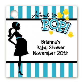 Ready To Pop Teal - Personalized Baby Shower Card Stock Favor Tags Option 1