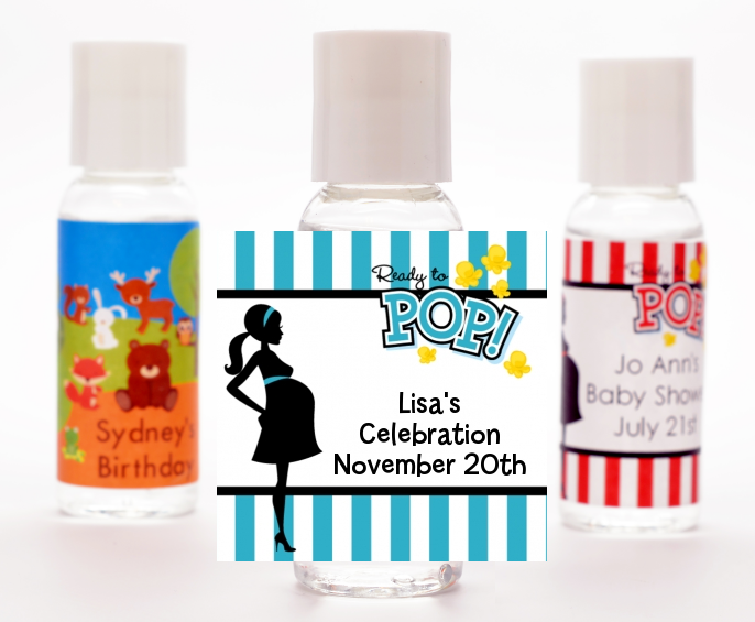 Ready To Pop Teal - Personalized Baby Shower Hand Sanitizers Favors Option 1