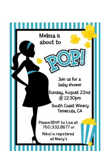 Ready To Pop Teal - Baby Shower Petite Invitations