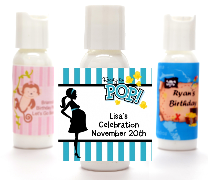 Ready To Pop Teal - Personalized Baby Shower Lotion Favors Option 1