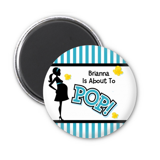 Ready To Pop Teal - Personalized Baby Shower Magnet Favors Option 1