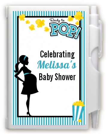 Ready To Pop Teal - Baby Shower Personalized Notebook Favor