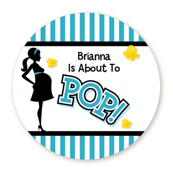 Ready To Pop Teal - Round Personalized Baby Shower Sticker Labels