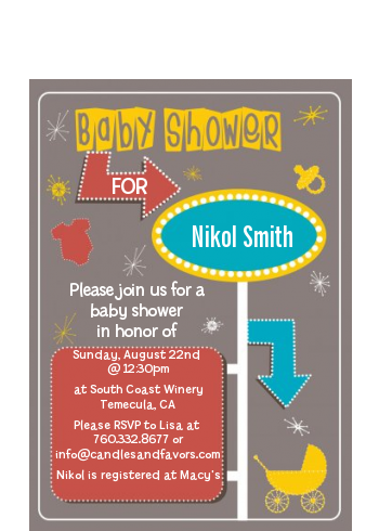 Retro Baby Theme - Baby Shower Petite Invitations