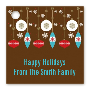 Retro Ornaments - Personalized Christmas Card Stock Favor Tags