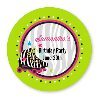 Retro Roller Skate Party - Round Personalized Birthday Party Sticker Labels