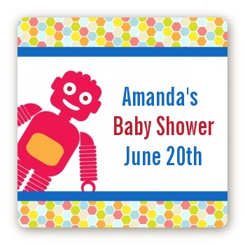 Robots - Square Personalized Baby Shower Sticker Labels