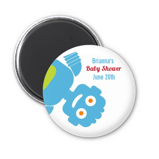 Robots - Personalized Baby Shower Magnet Favors Orange