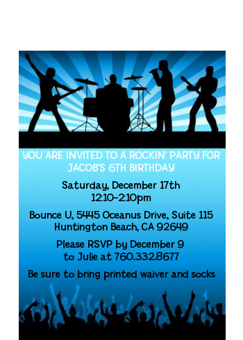 Rock Band | Like A Rock Star Boy - Birthday Party Petite Invitations
