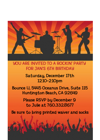 Rock Band | Like A Rock Star Girl - Birthday Party Petite Invitations
