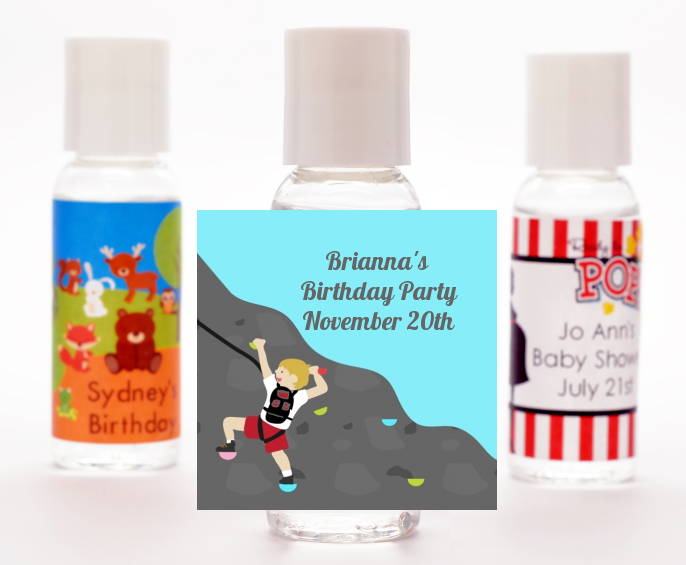 Rock Climbing - Personalized Birthday Party Hand Sanitizers Favors Kids