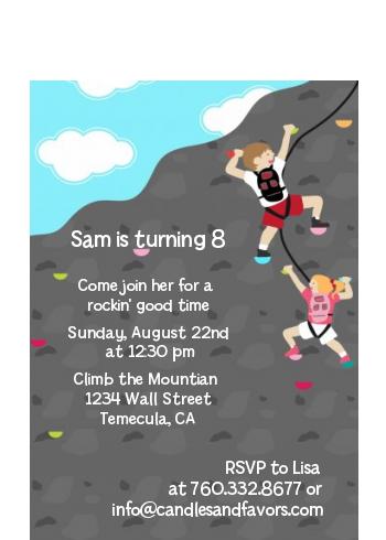 Rock climbing birthday party petite invitations rock climbing birthday party petite invitations boy girl filmwisefo