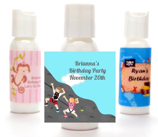 Rock Climbing - Personalized Birthday Party Lotion Favors Kids