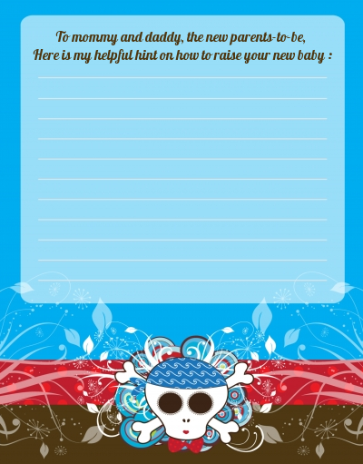 Rock Star Baby Boy Skull - Baby Shower Notes of Advice