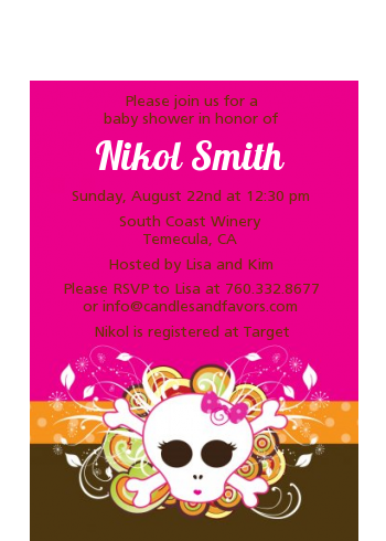 Rock Star Baby Girl Skull - Baby Shower Petite Invitations
