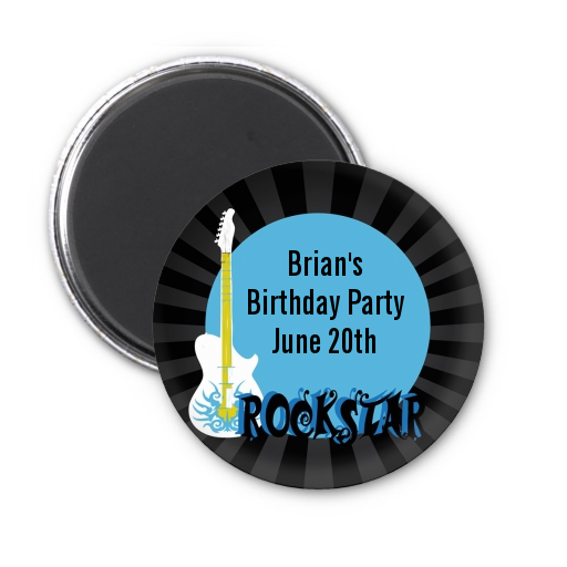 Rock Star Guitar Blue - Personalized Birthday Party Magnet Favors Blue