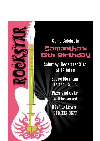 Rock Star Guitar Pink - Birthday Party Petite Invitations