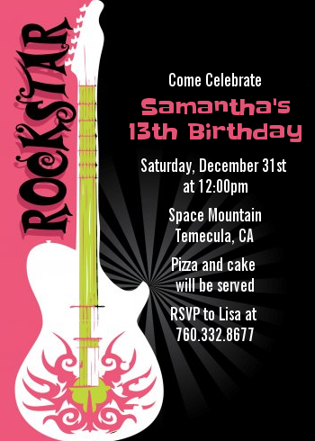 Rock Star Guitar Pink - Birthday Party Invitations