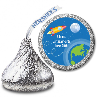 Rocket Ship - Hershey Kiss Birthday Party Sticker Labels