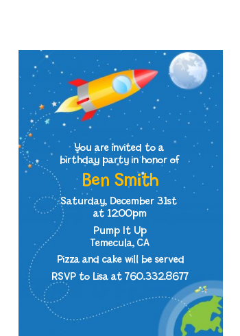 Rocket Ship - Birthday Party Petite Invitations
