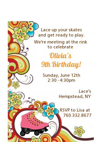 Roller Skating - Birthday Party Petite Invitations