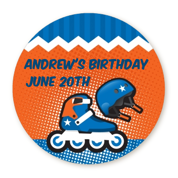 Rollerblade - Round Personalized Birthday Party Sticker Labels