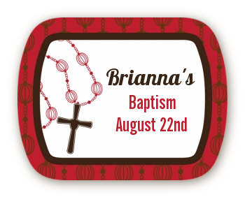 Rosary Beads Maroon - Personalized Baptism / Christening Rounded Corner Stickers