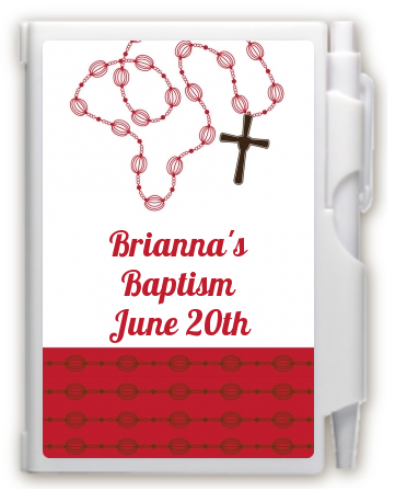 Rosary Beads Maroon - Baptism / Christening Personalized Notebook Favor