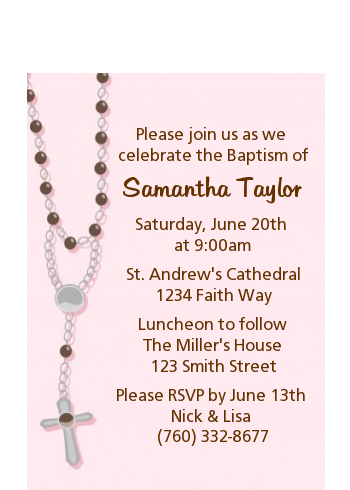 Rosary Beads Pink - Baptism / Christening Petite Invitations