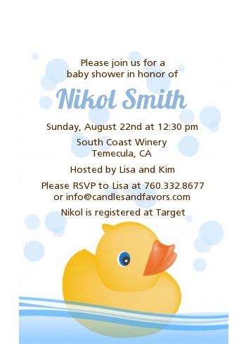 Rubber Ducky - Baby Shower Petite Invitations