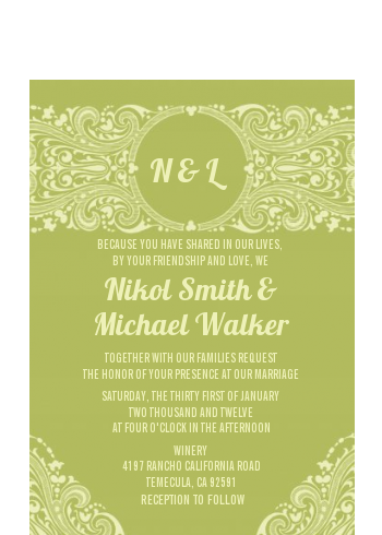 Sage Green - Bridal Shower Petite Invitations