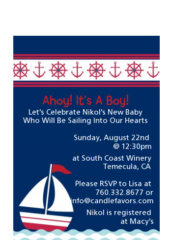 Sailboat Blue - Baby Shower Petite Invitations